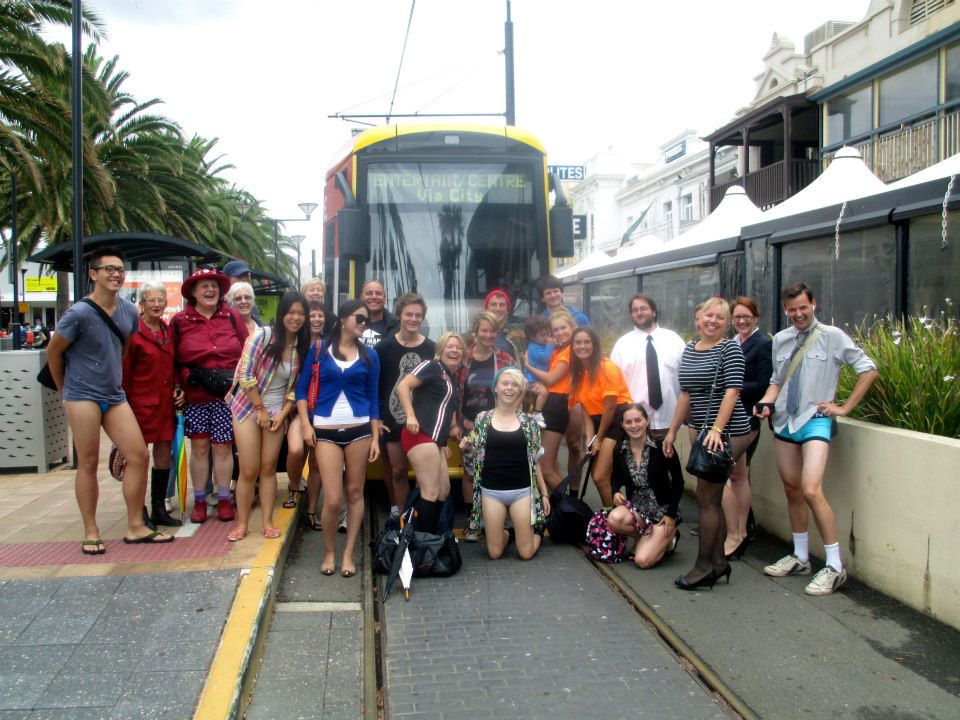 Everyone in front of the tram at Mosley Square in Glenelg